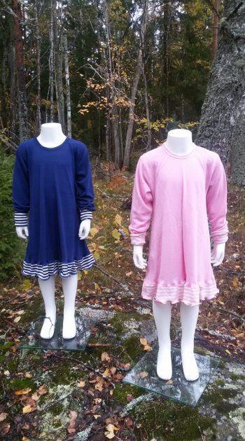 blå och rosa klänningar